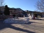 Esplanade d'arrivée enneigée