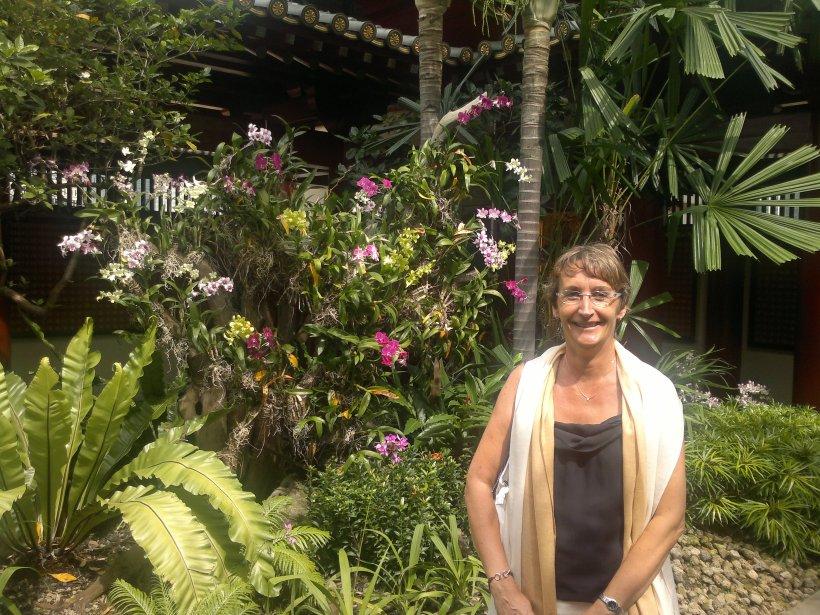 Sur la terrasse du Buddha Tooth Relic Temple