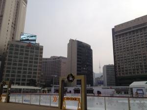 Notre hôtel, la patinoire et la Tower